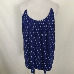 Old Navy Blue & White String Tie Back Tank Top XL